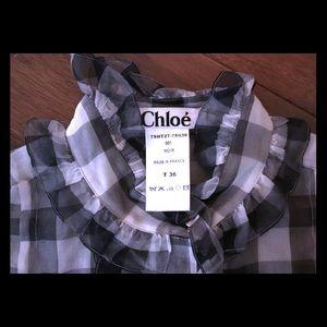 Chloe silk organza ruffle top